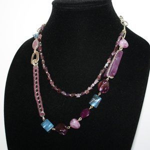 Beautiful purple stone and chain necklace